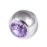 Titanium Threaded Jewelled Balls 1.6x4mm Mirror Polish metal, Lilac Gem