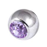 Titanium Threaded Jewelled Balls 1.6x5mm Mirror Polish metal, Lilac Gem