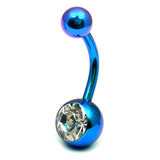 Titanium Single Jewelled Belly Bars 8mm Anodised Turquoise, Crystal Clear