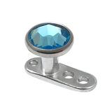 Titanium Dermal Anchor with Jewelled Disk Top (4mm diameter - standard) 2.5mm, Light Blue (Standard height)