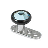 Titanium Dermal Anchor with Black Titanium Jewelled Disk Top 1.6mm, 2.5mm, 4mm Light Blue
