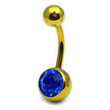 Titanium Single Jewelled Belly Bars 8mm Anodised Gold, Sapphire Blue