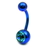 Titanium Single Jewelled Belly Bars 8mm Anodised Blue, Turquoise