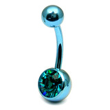 Titanium Single Jewelled Belly Bars 8mm Anodised Ice Blue, Turquoise