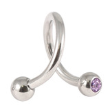 Steel Double Jewelled Spiral 1.6mm 1.6 / 12 / Lilac