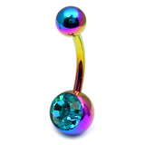 Titanium Single Jewelled Belly Bars 8mm Anodised Rainbow, Turquoise