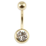 Zircon Titanium Jewelled Belly Bars (Gold colour PVD) 1.6mm, 12mm, Crystal Clear