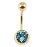 Zircon Titanium Jewelled Belly Bars (Gold colour PVD) 1.6mm, 12mm, Light Blue