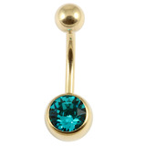 Zircon Titanium Jewelled Belly Bars (Gold colour PVD) 1.6mm, 12mm, Turquoise