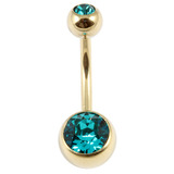 Zircon Titanium Double Jewelled Belly Bars (Gold colour PVD) 1.6mm, 12mm, Turquoise