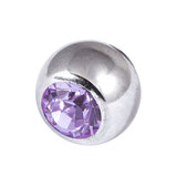 Titanium Threaded Jewelled Balls 1.2x3mm Mirror Polish metal, Lilac Gem