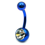 Titanium Single Jewelled Belly Bars 10mm Anodised Blue, Crystal Clear