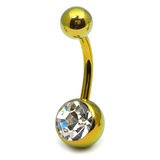 Titanium Single Jewelled Belly Bars 10mm Anodised Gold, Crystal Clear