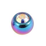 Titanium Threaded Jewelled Balls 1.6x5mm Rainbow metal, Crystal AB Gem