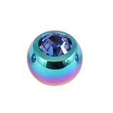 Titanium Threaded Jewelled Balls 1.6x5mm Rainbow metal, Sapphire Blue Gem