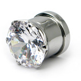 Steel Bling Screw Tunnel 14mm, Crystal Clear