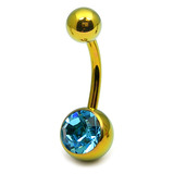 Titanium Single Jewelled Belly Bars 10mm Anodised Gold, Light Blue