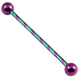 Titanium Candy Stripe Industrial Scaffold Barbell 30-40mm 1.6mm, 38mm, 5mm, Purple and Turquoise