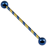 Titanium Candy Stripe Industrial Scaffold Barbell 30-40mm 1.6mm, 38mm, 5mm, Blue and Gold