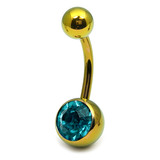 Titanium Single Jewelled Belly Bars 10mm Anodised Gold, Turquoise