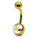 Titanium Single Jewelled Belly Bars 10mm Anodised Gold, Crystal AB