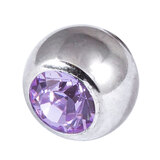 Steel Threaded Jewelled Balls 1.6x8mm lilac