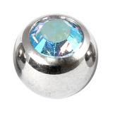 Steel Threaded Jewelled Balls 1.6x8mm aqua ab