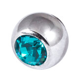 Steel Threaded Jewelled Balls 1.6x8mm turquoise