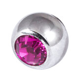 Steel Threaded Jewelled Balls 1.6x8mm fuchsia