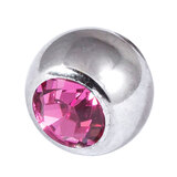 Steel Threaded Jewelled Balls 1.6x8mm pink