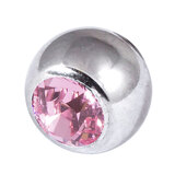 Steel Threaded Jewelled Balls 1.6x8mm Lt pink