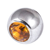 Steel Threaded Jewelled Balls 1.6x8mm amber