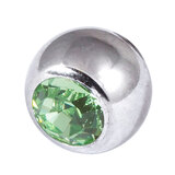 Steel Threaded Jewelled Balls 1.6x8mm light green