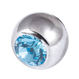 Steel Threaded Jewelled Balls 1.6x8mm light blue