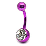 Titanium Single Jewelled Belly Bars 12mm Anodised Pink-Purple, Crystal Clear