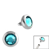 Steel Jewelled Ball for Internal Thread shafts in 1.2mm (0.9mm) 1.2mm, 2.4mm, Turquoise. One gemball only