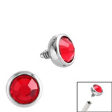 Steel Jewelled Ball for Internal Thread shafts in 1.2mm (0.9mm) 1.2mm, 2.4mm, Red. One gemball only
