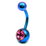 Titanium Single Jewelled Belly Bars 8mm Anodised Turquoise, Pink