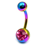 Titanium Single Jewelled Belly Bars 8mm Anodised Rainbow, Pink