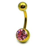 Titanium Single Jewelled Belly Bars 8mm Anodised Gold, Pink