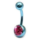 Titanium Single Jewelled Belly Bars 12mm Anodised Ice Blue, Pink