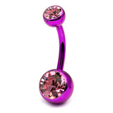 Titanium Double Jewelled Belly Bars 8mm Anodised Pink-Purple, Pink