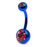 Titanium Double Jewelled Belly Bars 8mm Anodised Blue, Pink