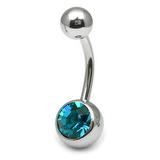 Titanium Single Jewelled Belly Bars 12mm Mirror Polish Mirror Polish, Turquoise