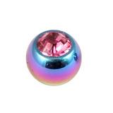Titanium Threaded Jewelled Balls 1.6x5mm Rainbow metal, Pink Gem