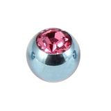 Titanium Threaded Jewelled Balls 1.6x5mm Ice Blue metal, Pink Gem
