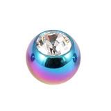 Titanium Threaded Jewelled Balls 1.6x4mm Rainbow metal, Crystal Clear Gem