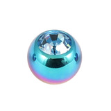 Titanium Threaded Jewelled Balls 1.6x4mm Rainbow metal, Light Blue Gem