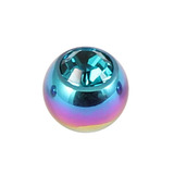 Titanium Threaded Jewelled Balls 1.6x4mm Rainbow metal, Turquoise Gem