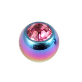 Titanium Threaded Jewelled Balls 1.6x4mm Rainbow metal, Pink Gem